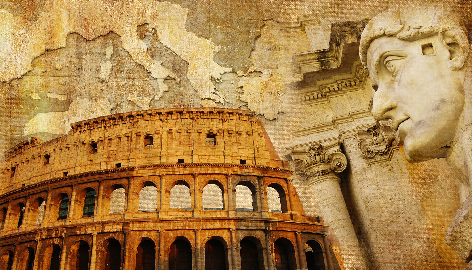 great Roman empire – conceptual collage in retro style